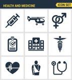 Ikony ustawiają premii ilość opieka zdrowotna sprzęt medyczny i profesjonaliści Nowożytnego piktograma inkasowy płaski projekt Zdjęcie Stock