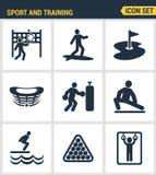 Ikony ustawiają premii ilość plenerowi sporty trenuje, różnorodnego sportowego aktywność Nowożytnego piktograma inkasowy płaski p Fotografia Royalty Free