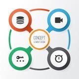 ikony ustawiają użytkownika Kolekcja Drugi metr, klucz, kamera wideo I Inni elementy, Także Zawiera symbole Tak jak kamera wideo Zdjęcia Royalty Free