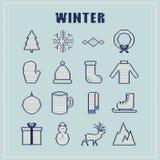 ikony ustawiają zima ornament trykotowa tekstura Wektorowy illustra Obraz Royalty Free