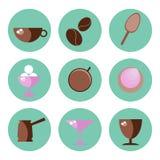 Ikony w mieszkaniu projektują kawę i cukierki Obraz Stock