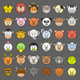 Ikony Wektorowa ilustracja zwierzęce twarze. Obrazy Royalty Free