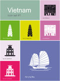 Ikony Wietnam ilustracja wektor