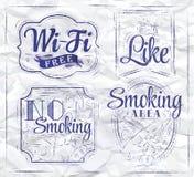 Ikony wifi. Atrament. ilustracji