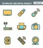 Ikony wykładają ustaloną premii ilość informatyki i elektronika przyrząda, telefonu komórkowego komunikacyjny cyfrowy produkt Zdjęcie Stock