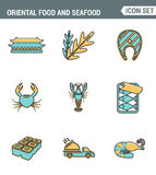 Ikony wykładają ustaloną premii ilość orientalna jedzenia i owoce morza suszi rolka gotuje Japan menu Nowożytnego piktograma inka Obraz Royalty Free