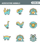 Ikony wykładają ustaloną premii ilość rolnictw zwierząt stajnia uprawia ziemię zwierzęcego gospodarstwa rolnego ikonę Nowożytnego ilustracji