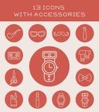 13 ikony z akcesoriami royalty ilustracja