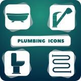 Ikony z instalacją wodnokanalizacyjną przedmioty w płaskim projekcie Zdjęcia Stock