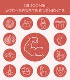 13 ikony z sportów elementami ilustracja wektor