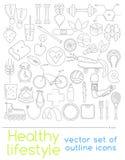 Ikony zdrowy jedzenie i sport Zdjęcia Royalty Free