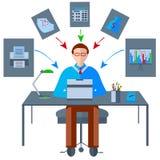 Ikony zgłaszają biznesmena, faks, laptop royalty ilustracja