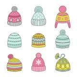 Ikony zimy kapelusz Zdjęcia Stock