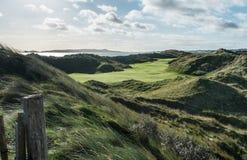 Iks golfbana med stora sanddyn och vind blåst buse Royaltyfria Bilder