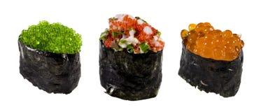 Ikura (rode kaviaar), tobiko (vliegende vissenkaviaar) Royalty-vrije Stock Afbeeldingen