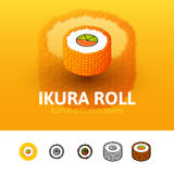 Ikura roll icon in different style. Ikura roll color icon, vector symbol in flat, outline and isometric style isolated on blur background Royalty Free Stock Photos