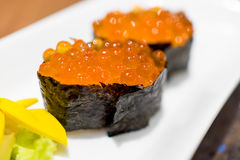 Ikura Salmon egg with seaweed sushi. Ikura Salmon egg with seaweed rice sushi Royalty Free Stock Photos