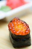 Ikura sushi with ginger and wasabi Stock Photos