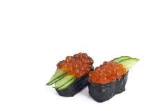 Ikura (uova di color salmone) Nigiri Fotografie Stock Libere da Diritti