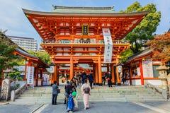 Ikuta-jinja relikskrin i Kobe Arkivbilder