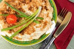 """Il †di brei del Matzah """"ha rimescolato le uova con i pezzi del matzah Immagine Stock Libera da Diritti"""