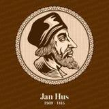 Il †1369 di Jan Hus «1415 era un teologo, un prete cattolico, un filosofo, un padrone, un decano e un rettore cechi di Charles  royalty illustrazione gratis