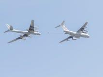 2 Il-78 и Tu-95 на параде победы Стоковое Изображение RF