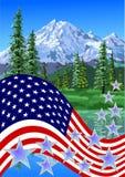 Il 4 luglio, tema delle montagne Immagine Stock Libera da Diritti
