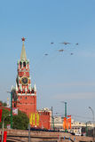 Il-76, Tu-160 and Mig-29 airplanes fly Stock Images