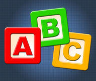 Il ABC scherza le lettere dell'alfabeto di mezzi dei blocchi ed alfabetico illustrazione di stock
