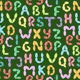 Il ABC variopinto del partito di feste di vettore dell'alfabeto del pallone inglese e l'ozono di istruzione scrivono il fumetto a illustrazione di stock