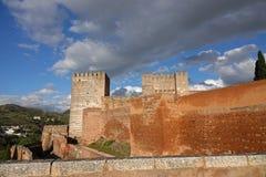 Il Alcazaba di Alhambra a Granada, Andalusia immagini stock libere da diritti