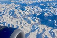 Il Alpes coperto in neve dall'aria Fotografia Stock