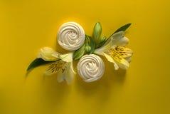 Il Alstroemeria fiorisce lo zefiro bianco su fondo di carta giallo Fotografie Stock Libere da Diritti