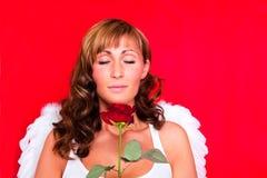 Il amor di angelo di amore con è aumentato Fotografia Stock