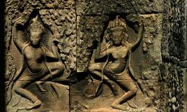 Il Apsara ballante sulla parete di Bayon Wat Fotografie Stock