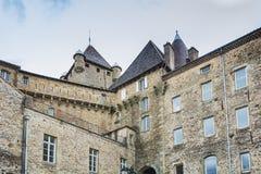 Il ` Aubenas del castello d, classificato come monumento storico, ora alloggia il Th Fotografia Stock Libera da Diritti