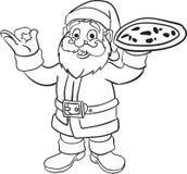 Il Babbo Natale che dà il libro da colorare della pizza illustrazione vettoriale
