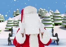 Il Babbo Natale che tiene cartello in bianco sul suo fronte 3D Immagine Stock