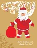 Il Babbo Natale con i regali Cartolina di Natale Fotografie Stock Libere da Diritti