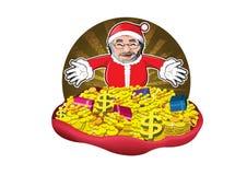 Il Babbo Natale con i regali, i soldi e l'oro Immagini Stock Libere da Diritti
