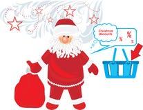 Il Babbo Natale con i regali Sconti di natale Fotografia Stock