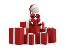 Il Babbo Natale con il mucchio dei regali. Fotografie Stock