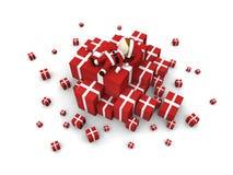 Il Babbo Natale con il mucchio dei regali. Immagini Stock Libere da Diritti