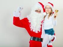Il Babbo Natale con la bambina Immagini Stock Libere da Diritti