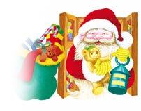 il Babbo Natale con la lanterna Immagini Stock