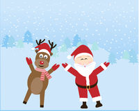 Il Babbo Natale con la renna Fotografia Stock Libera da Diritti