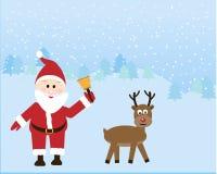 Il Babbo Natale con la renna illustrazione vettoriale