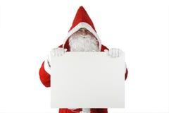 Il Babbo Natale con la scheda bianca Immagini Stock Libere da Diritti