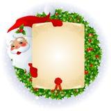 Il Babbo Natale con la scheda di messaggio Immagine Stock